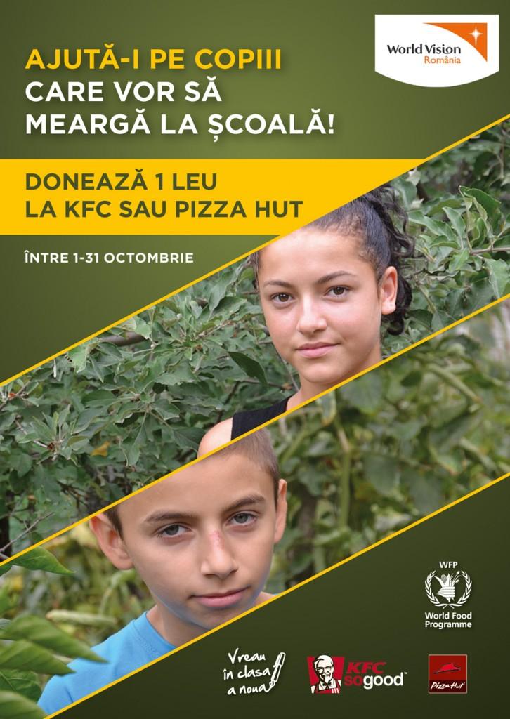 Ajuta-i pe copiii care vor sa mearga la scoala! Doneaza 1 leu la KFC sau Pizza Hut