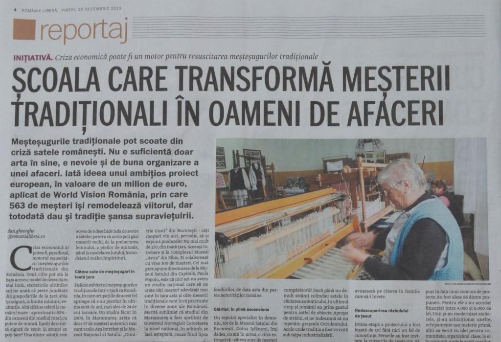 Reportaj in Romania Libera despre Targul de la Sat