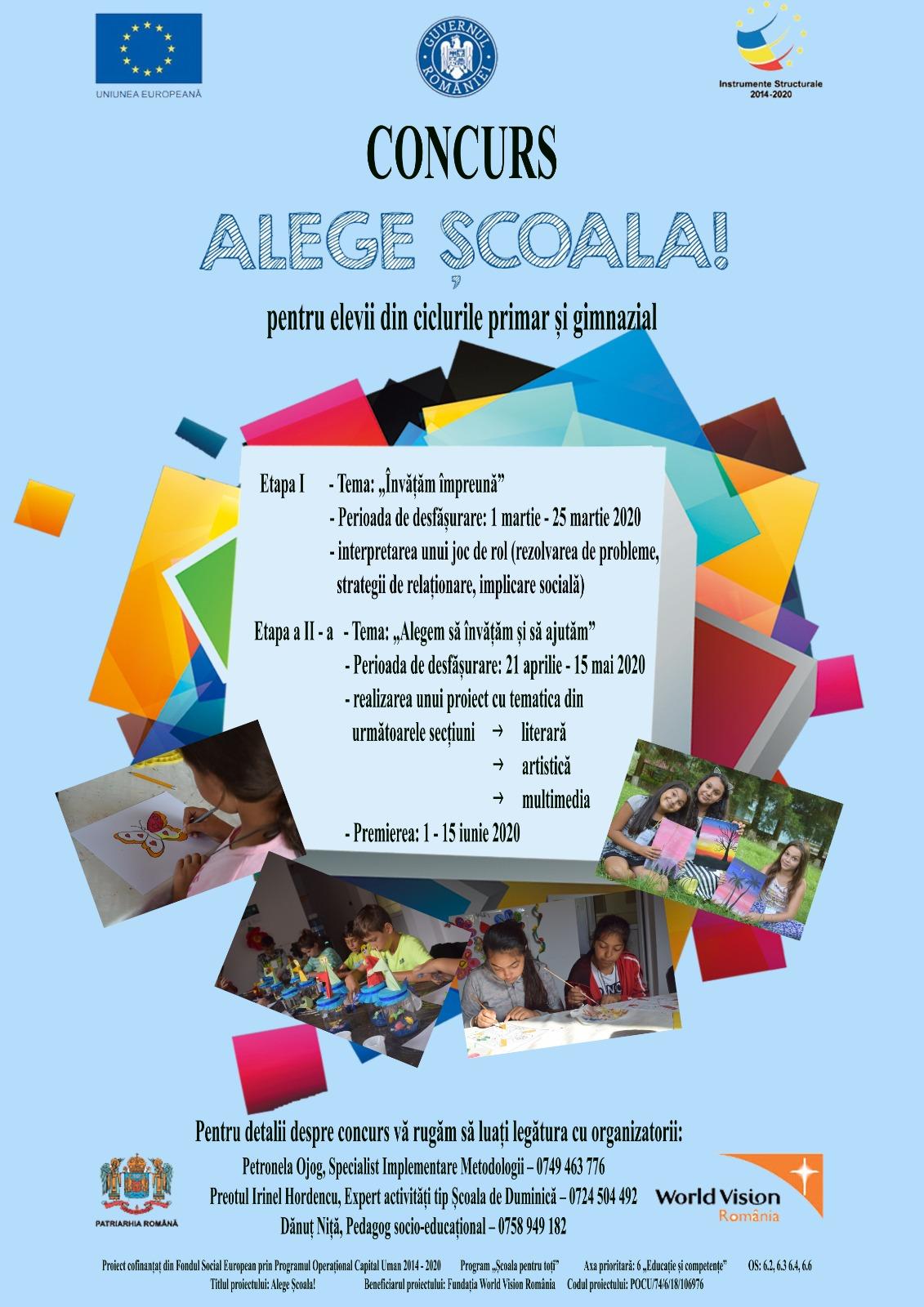 Proiectul Alege Școala! dă startul unui concurs pentru elevi